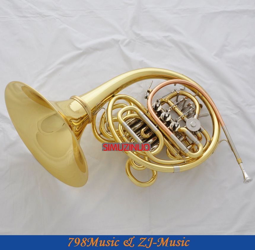 Professional Double French Horn Gold F/Bb Keys Cupronicekl Tuning Pipe With Case