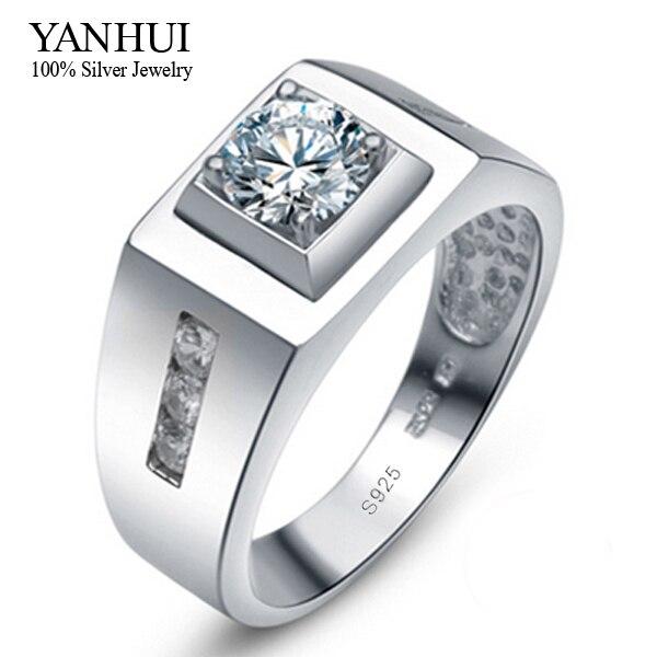 YANHUI 100% 925 Sterling Silber Herren-Ring Mit S925 Stempel 0.75ct CZ Diamant hochzeit Ring Für Männer Ring Größe 6 7 8 9 10 11 12 YR019