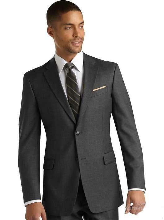 Double Buttons Notch Lapel Grey Grooms Suits men suits wedding tuxedos men(jacket+pants) Custom Made Size Color