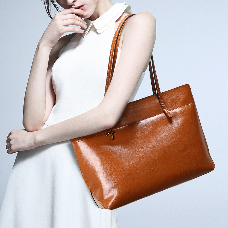 Femmes Véritable sacs à main en cuir Grand Shopper Sac Femme D'épaule des Femmes sac en seau Brun fourre-tout pour sac à main des femmes Dame
