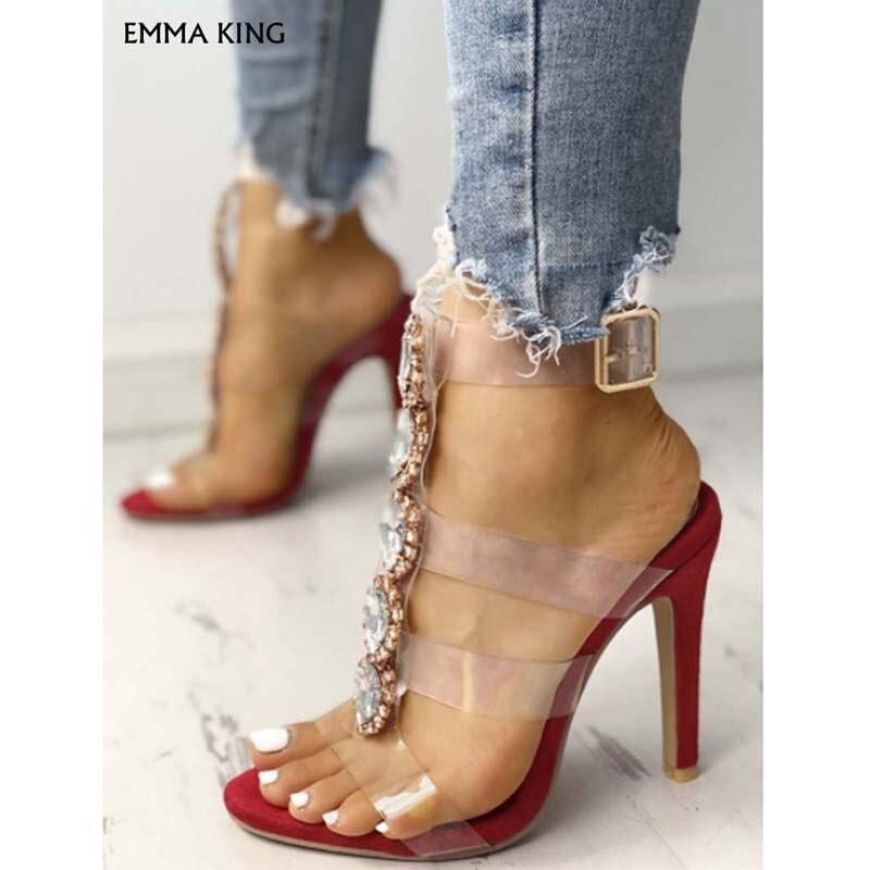Sandalias de tacón con adornos brillantes con correa transparente a la moda para mujer zapatos de lujo para mujer