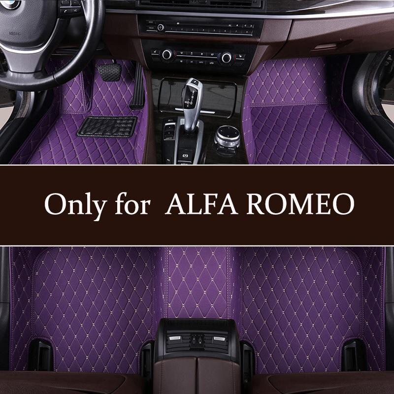 waterproof Leather Car Floor Mats Fit For ALFA ROMEO Giulia Mito Stelvio hight Quarlity mats non slip dustproof floor mats(China)