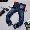 Hermano Wang Marca de vaqueros de Moda micro-pantalones vaqueros de los hombres de negocios de los hombres Pequeños pantalones rectos de color Sólido ocio Blue jeans hombres 36 38 40