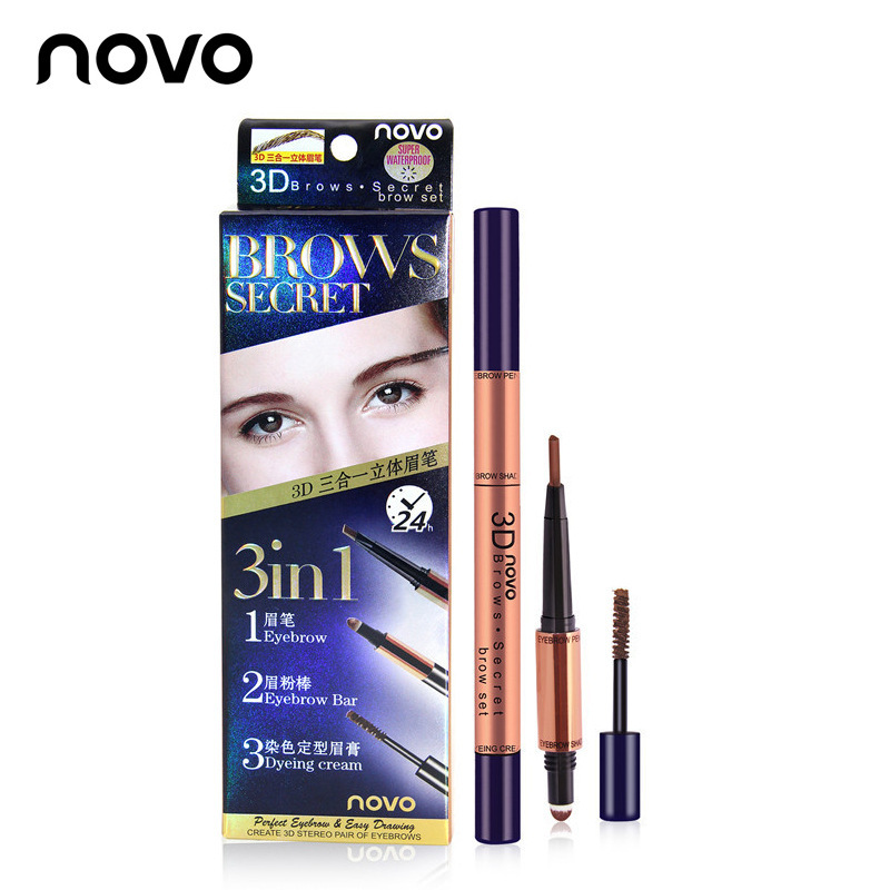 NOVO Brand 3 In 1 Enhance Eyebrow Tool Eyebrow Pencil Eyebrow Powder Stick Dyeing Styling Cream Shaping 3D Double Eyebrow