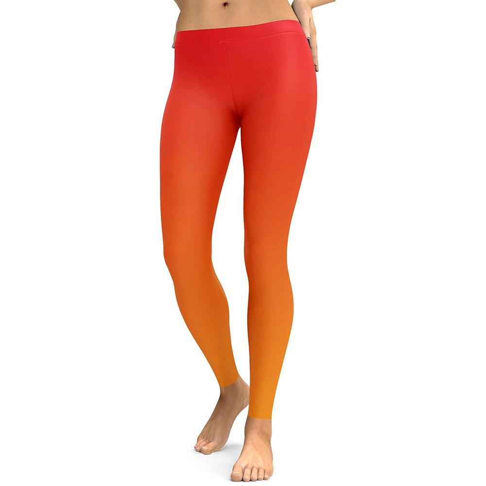 Gradient Orange Color Print Leggings Women Slim Fitness Leggings Elastic High Waist Causal Leggings Plus Size Leggins Mujer