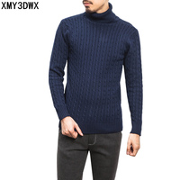 2017 New Autumn Winter Thermal Slim Turtleneck Sweater Male Trend Thick Solid Pullover Men Knitted Blending