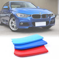 MIKKUPPA 3pcs 3D Car Front Grille Trim Strips Cover Motorsport Stickers For BMW 3 Series 5 Series X5 X6