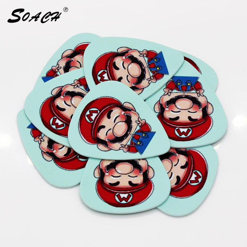 SOACH 10pcs/Lot 0.71mm Thickness Guitar Strap Guitar Parts  Lovely Repair Foreman Guitar Picks