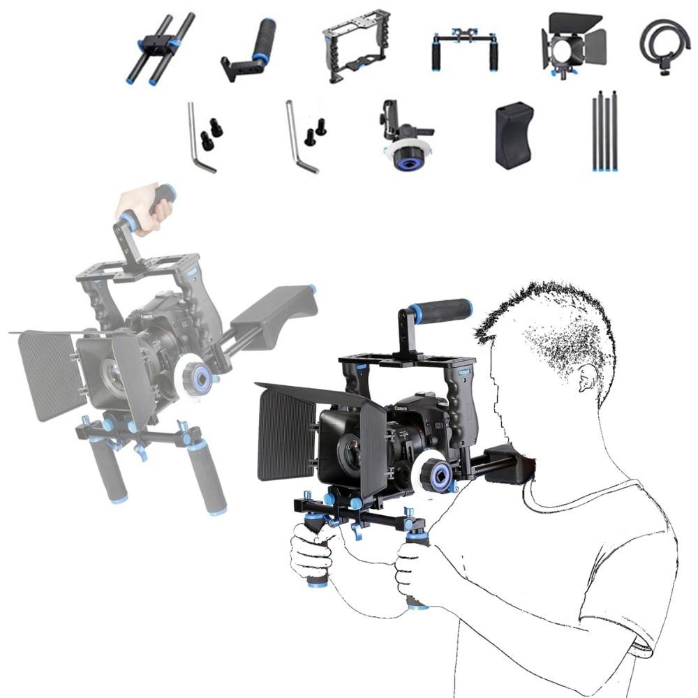 DSLR Rig Video Stabilizer Kit Film Equipment Matte Box + Cage + Shoulder Mount Rig + Follow Focus for DSLR Camera Camcorder стоимость