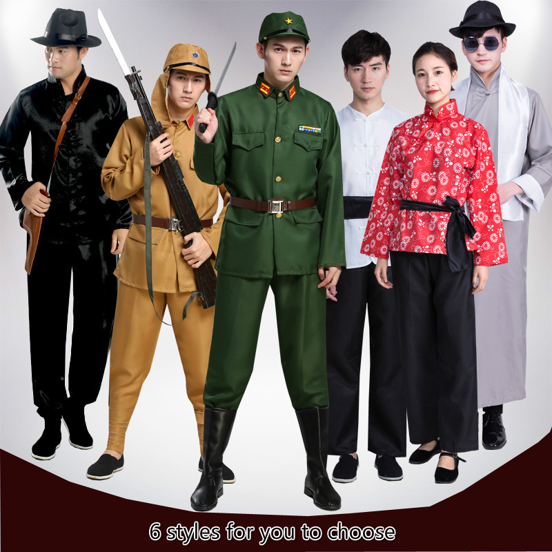 Japanese Army Uniform Officer Military Clothing Republic Of China Rural Auntie Clothing Stage Drama Performance Costume Cosplay
