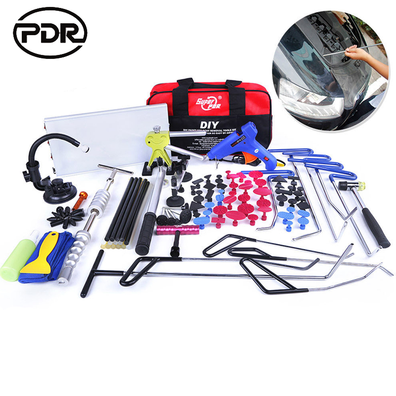 цены  PDR Tools Hooks Spring Steel Push Rods Dent Removal Paintless Dent Repair Led lamp Reflector Board Dent Puller Tool Set