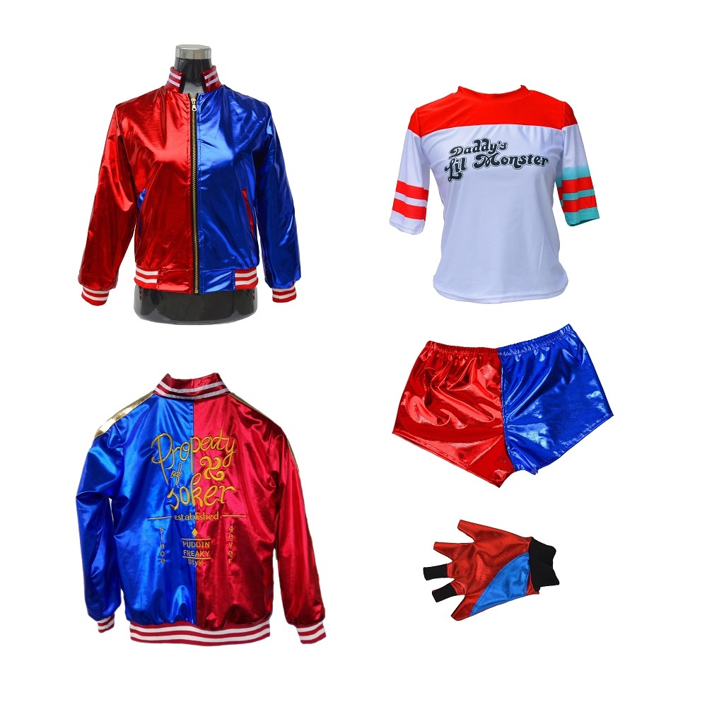 Suicide Squad Cosplay Costumes Quinn Harley Monster T Shirt Coat Jacket Pants Bracelet Belt Necklace Gloves Accessories Full Set