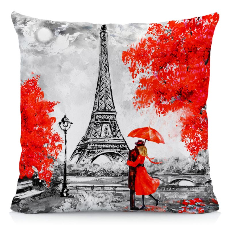 XUNYU Cushion Cover 45x45cm Throw Pillow Covers Black & Red Paris Eiffel Tower Modern Couple Style Decorative Pillow Cases A2