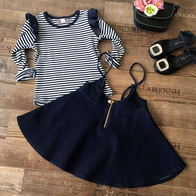 2017 new Lolita style kids clothes baby girls long sleeved black striped T-shirt + Denim skirt for 2...9 years clothing set шаблон для мема с дрейком