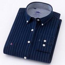 2018 Новая Коллекция рубашка с длинным рукавом Для мужчин хлопок camisa социальный Оксфорд Для мужчин рубашки мужская одежда рубашки мужской в полоску Повседневная рубашка 5XL