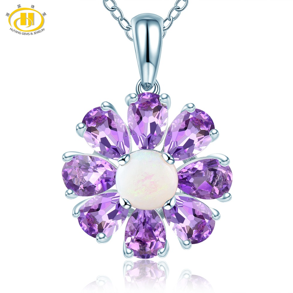 Hutang Opal Pendant Natural Gemstone Amethyst Solid 925 Sterling Silver Necklace Fine Fashion Stone Jewelry for Women Best GiftHutang Opal Pendant Natural Gemstone Amethyst Solid 925 Sterling Silver Necklace Fine Fashion Stone Jewelry for Women Best Gift