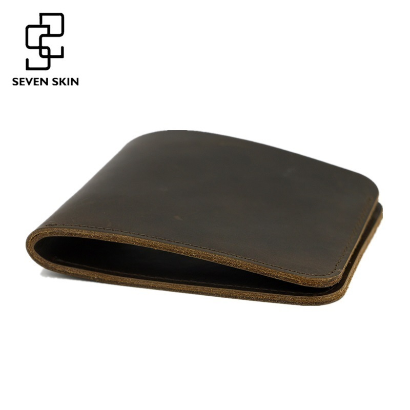 Top Quality Men Genuine Leather Wallet Bifold Purses Crazy Horse Wallet Vintage Short Slim Wallet Carteira Masculina Card Holder