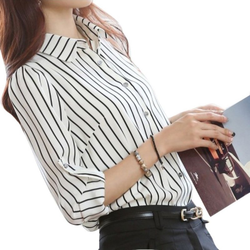 Spring Autumn Women Stripped Casual Office Chiffon Tops And   Blouses   Plus Size Striated Tops Long Sleeve OL Style Women   Shirt