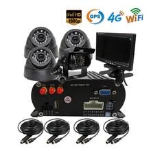 Free Shipping 4 CH WIFI GPS 4G 1080P AHD 2TB HDD SD Car DVR Video Recorder Rear View Dome Car Camera Kit Realtime Monitor 7″ LCD