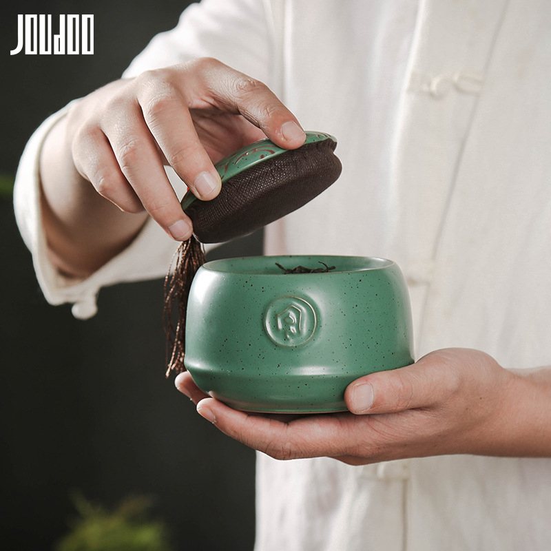 JOUDOO 3D Retro Ceramic Tea Can Black&Green Solid Creative Container Can Sealed Food Tea Celadon Canister With Lid 35-in Storage Bottles & Jars from Home & Garden