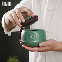 JOUDOO 3D Retro Ceramic Tea Can Black&Green Solid Creative Container Sealed Food Celadon Canister With Lid 35
