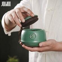 JOUDOO 3D Керамическая чайная банка в стиле ретро, черный и зеленый твердый креативный контейнер, герметичная банка для еды, чая, целадона с крышкой 35