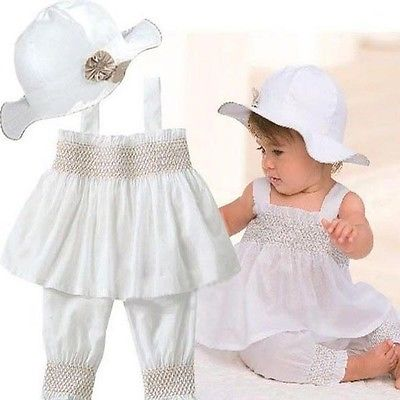 Baby Girls Kids Top+Pants+Hat Set 3 Pieces Outfit Costume Ruffled Clothes 0-24Y plus size dotted ruffled blouson top