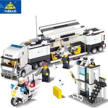 511st Legoings Stad Polisstation Modell Byggnadsblock Playmobil Polis DIY Byggstenar Pedagogiska Leksaker För Barn