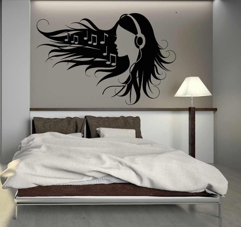 Free Shipping Wall Stickers Vinyl Decal Teen Girl Headphones Music Rock Pop  Girl Home Decoration Wall Decals KW 164 In Wall Stickers From Home U0026 Garden  On ... Part 43