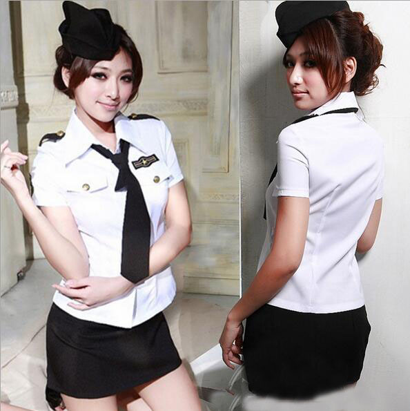 Sexy Lingerie Policewoman Stewardess Cosplay Uniform Club Dress Women Night Underwear Set  2017 Hot Babydoll Costumes