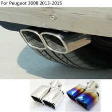 car Styling cover muffler exterior end pipe dedicate stainless steel exhaust tip tail outlet For Peugeot 3008 2013 2014 2015
