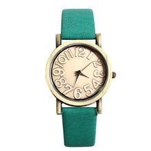 Moda Feminina Ladies Big Figura Dail Quartzo Verde Relógio de Pulso Quente