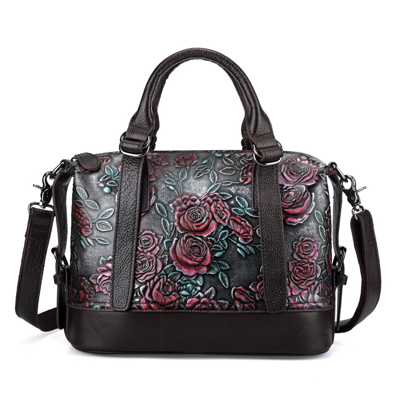 Woman hand-printed Vintage Genuine Leather Handbags Ladies Retro Shoulder Messenger Bag Tanned Leather Handmade Womans Bag vintage women genuine leather handbags ladies retro elegant shoulder messenger bag cow leather handmade womans bags