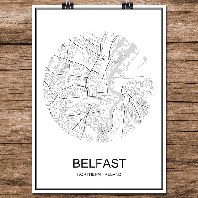 Street Map Of Ireland.Us 1 99 World City Street Map Belfast Northern Ireland Print Poster Abstract Coated Paper Bar Cafe Living Room Home Decor Wall Sticker In Wall