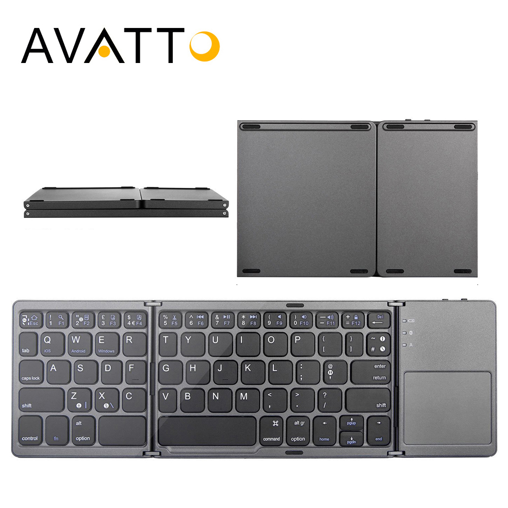 [AVATTO] Pocket Folding Mini Keyboard Bluetooth Foldable Wireless Keypad with Touchpad for Windows,Android,ios Tablet ipad Phone