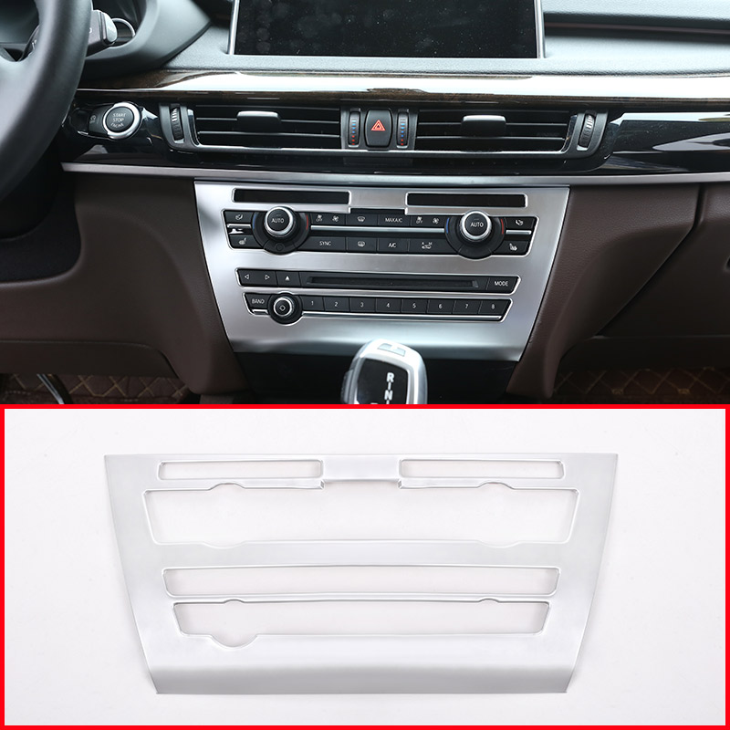 Abs Chrome Matte Center Console Volume Control Panel Cover Trim For Bmw X5 F15 2014-2018 Car Accessories Interior Mouldings