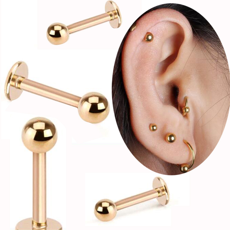 2Piece 16G Labret Lip Ring Surgical Stainless Steel Tragus Earrings