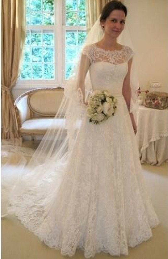 Buy Elegant A Line Jeweled Cap Sleeve Wedding Dresses See Through Back Long Bridal Gowns New Arrivall From Reliable Dress Advice With