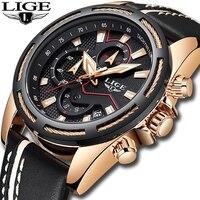 Новый LIGE Для мужчин часы моды хронограф мужской Повседневное кожа кварцевые часы Для мужчин военные Водонепроницаемый спортивные часы Relogio