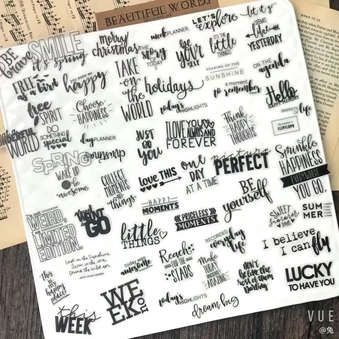 WOKO 90pcs Vintage Basic Phrases Magazine Sticker Retro Black White English Words Die Cut Sticker DIY Scrapbooking Label Album
