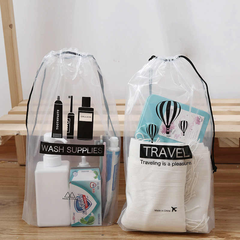 860d215588592c ... Transparent Cosmetic Bag Travel Makeup Case Women Drawstring Make Up  Bath Organizer Toiletry Wash Beauty Kit ...