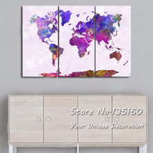 Watercolor World Map Canvas Print Large Wall Art Picture Abstract Colorful Splash Maps Decor Poster Decoration Painting No Frame