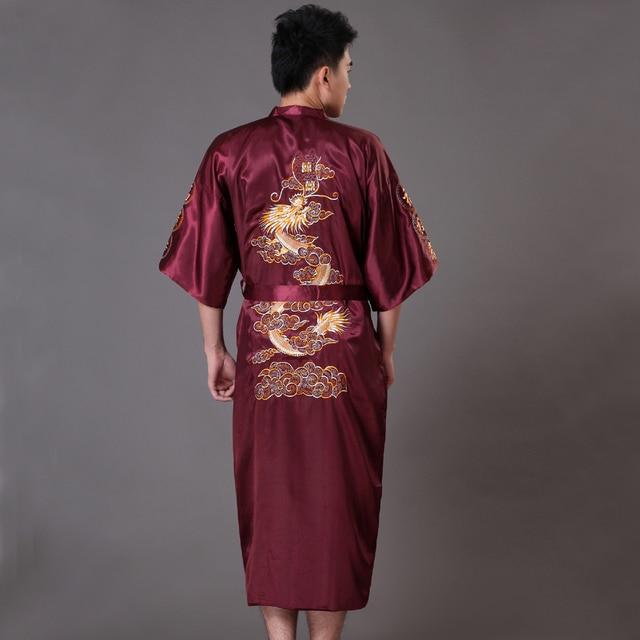 High Quality Burgundy Men's Kimono Bath Gown Chinese Style Satin Robe Embroidery Dragon Sleepwear Pijamas Plus Size XXXL MP023