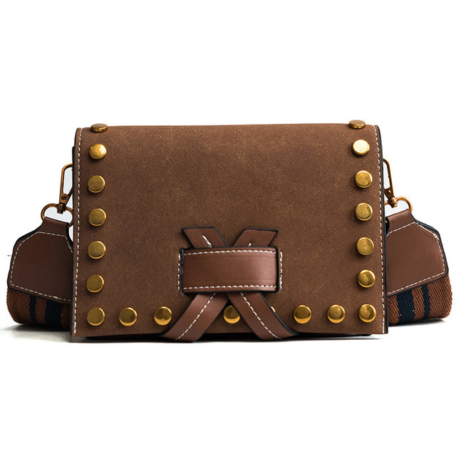 Ms Hedy Fashion Small Bag Rivet Women Crossbody Frosted Leather Handbags Las Purse Wide Strap