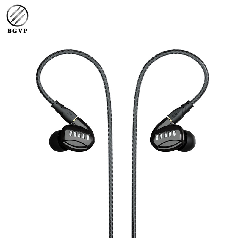 Original BGVP DM5 2DD+2BA Hybrid In Ear Earphone HIFI DJ Monitor Sport Earphone Metal Headset Earphone with Mic 2017 rose 3d 7 in ear earphone dd with ba hybrid drive unit hifi monitor dj 3d printing customized earphone with mmcx interface