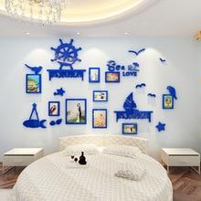 цена на Creative Mediterranean style Wall decoration Modern 3d self-adhesive wall sticker Children's room bedroom photo frame sticker