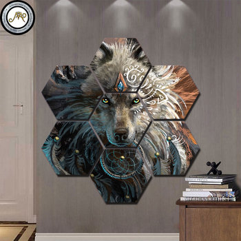 Wolfface-Dream Catcher-Progress by Sunima Art7 Pieces Canvas Prints Painting Wall Art Modular Picture Modern Decorative Painting