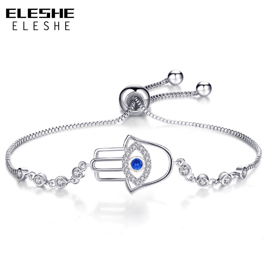 ELESHE New Simple Turkish Evil Eye Bracelet Pave CZ Blue Eye & Hamsa Hand Chain Bracelet Fashion Charm Bracelets for Women eye pendent bracelet watch suitable for women