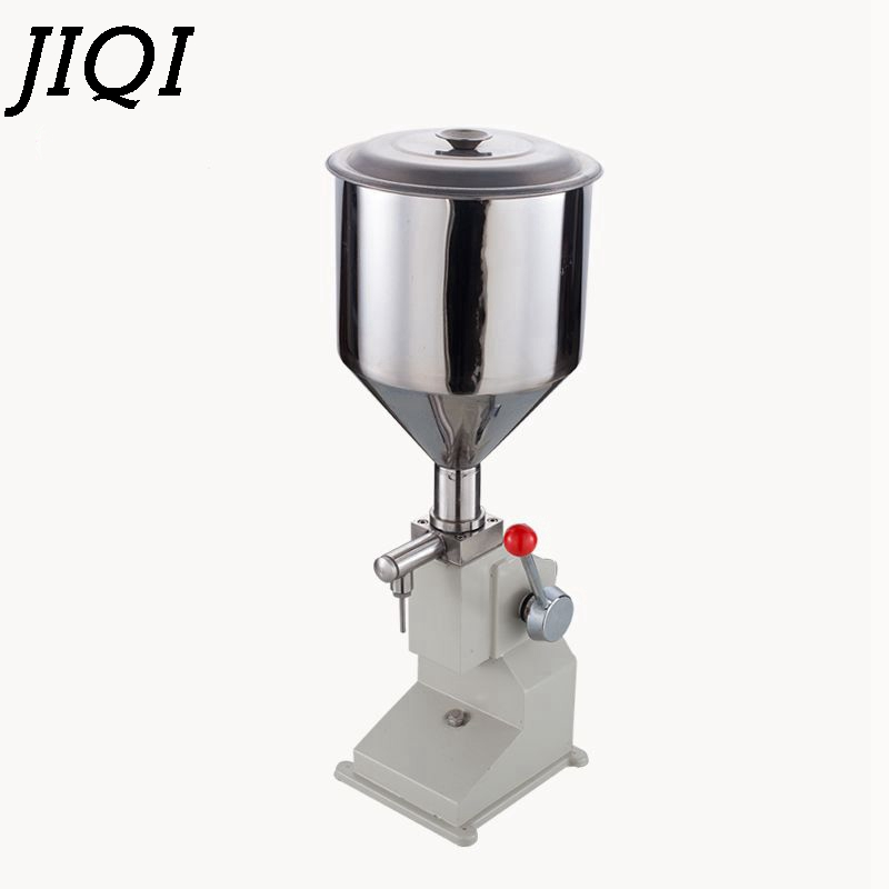 JIQI Manual food filling machine hand pressure stainless steel Pegar sold cream liquid packaging equipment shampoo juice filler double hopper stainless steel semi automatic food chemical particle filling machine