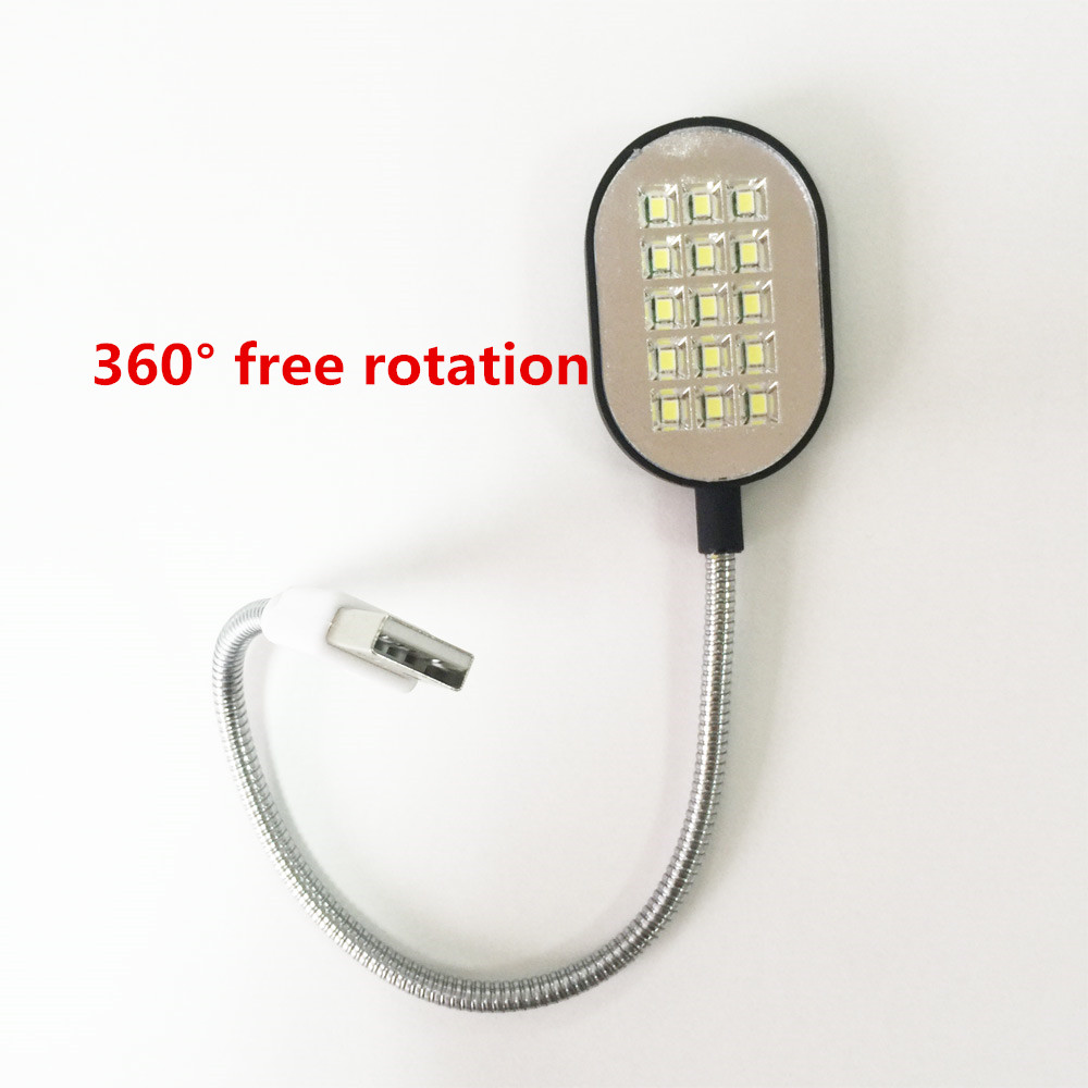 Flexible 31.4cm Ultra Bright Mini 15 LEDS Computer USB Light Lamp For PC Laptop Computer Convenient for reading flashlight torch new 1pcs ultra bright flexible led usb book light reading lamp 18 leds lamp magnifier for laptop notebook pc computer